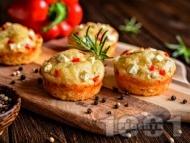 Домашни солени мъфини със сирене и червени чушки